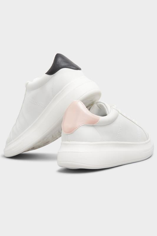 LIMITED COLLECTION White & Pink Vegan Leather Platform Trainers In Wide Fit_E.jpg