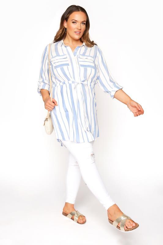 White and Blue Stripe Longline Peplum Shirt_B.jpg