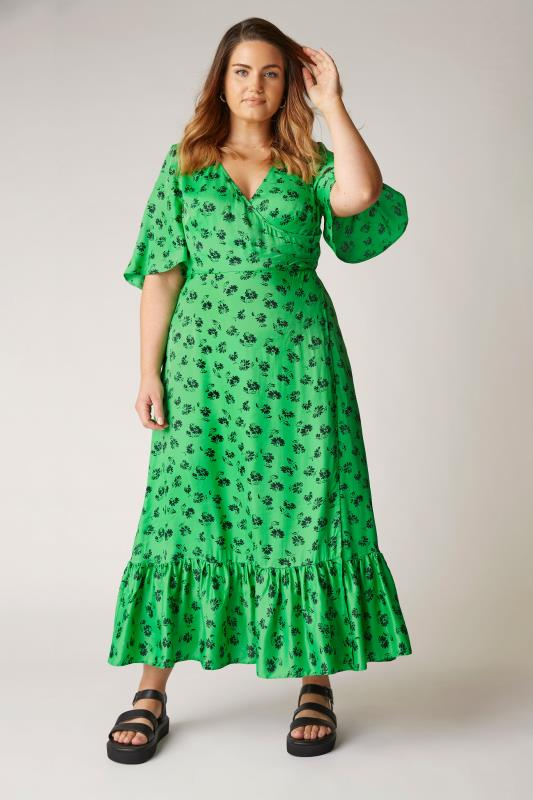 THE LIMITED EDIT Green Floral Ruffled Wrap Maxi Dress_B.jpg