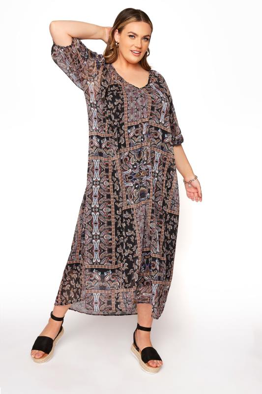 Plus Size  LIMITED COLLECTION Brown Paisley Midi Smock Dress