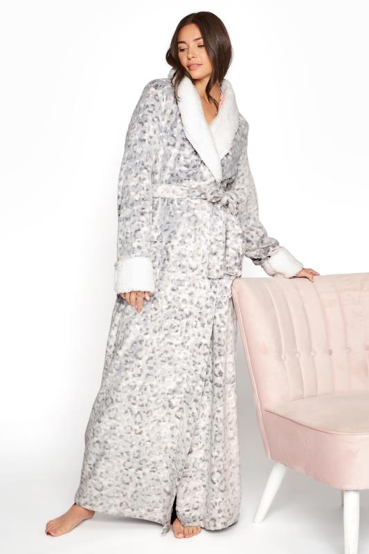 LTS Grey Animal Print Faux Fur Dressing Gown