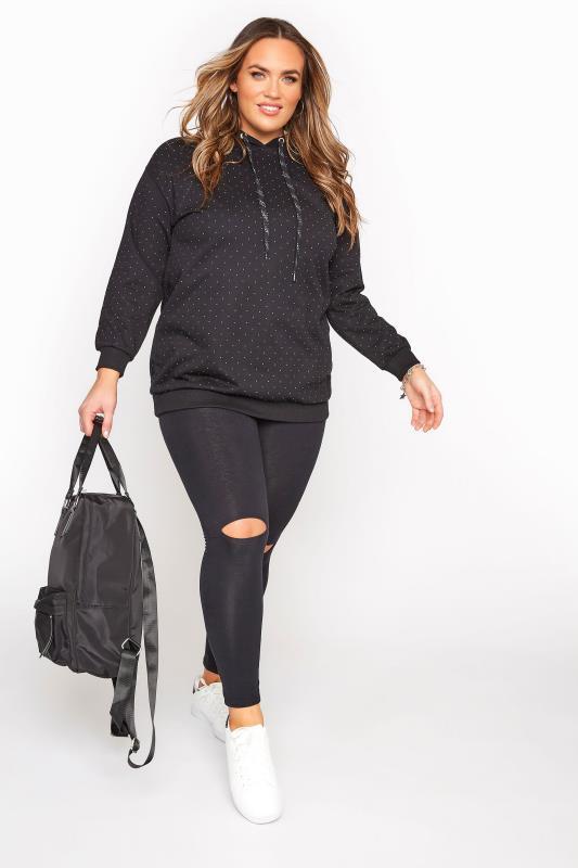 Black Stud Embellished Cotton Jersey Hoodie