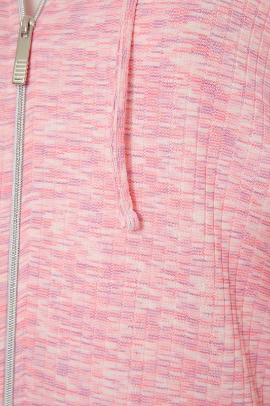 Pink Marl Ribbed Zip Through Hoodie_S.jpg