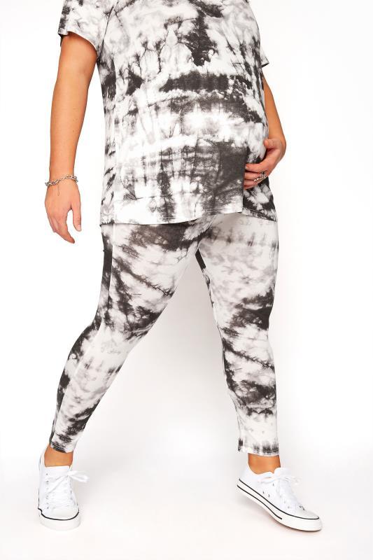 BUMP IT UP MATERNITY Black Tie Dye T-Shirt and Cropped Legging Set_E.jpg