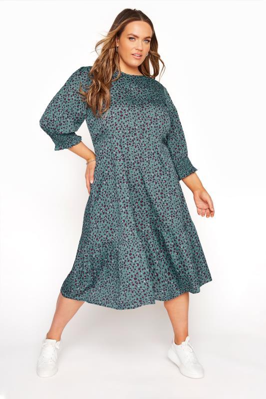 Plus Size  YOURS LONDON Teal Blue Animal Print Smock Midi Dress