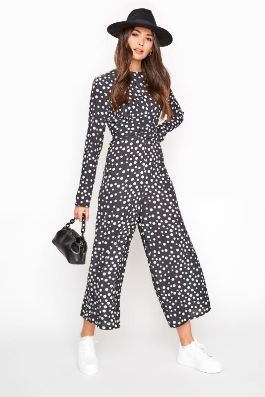 LTS Black Polka Dot Twist Front Jumpsuit
