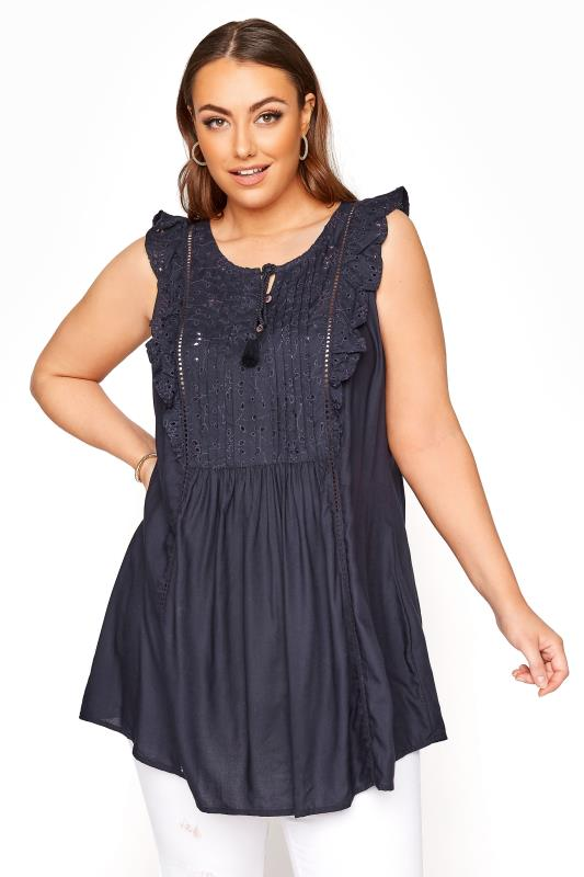 Plus Size  Navy Broderie Frill Blouse