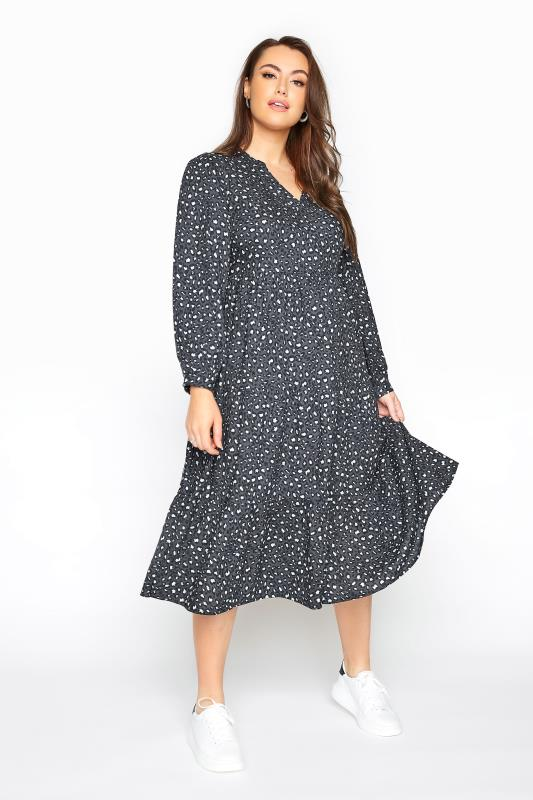 Plus Size  LIMITED COLLECTION Grey Leopard Print Tiered Smock Midi Dress