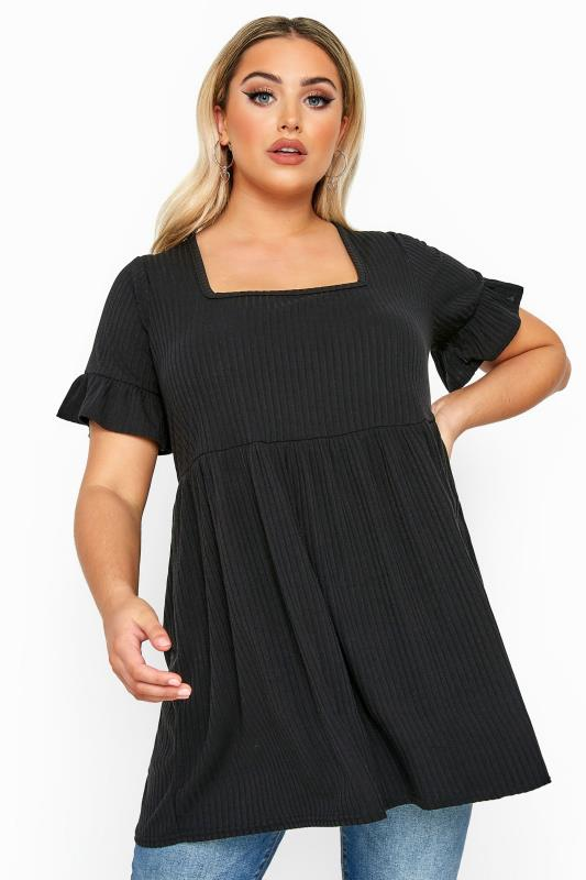 Plus Size Jersey Tops LIMITED COLLECTION Black Ribbed Square Neck Smock Top