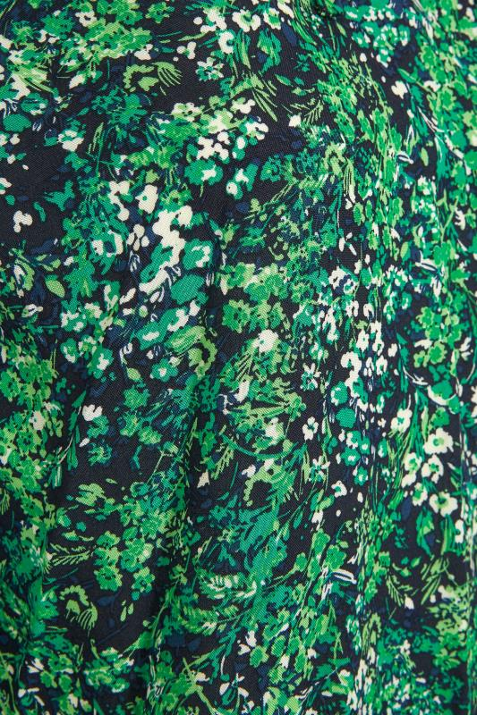 YOURS LONDON Green Floral Tie Frill Neck Blouse_S.jpg