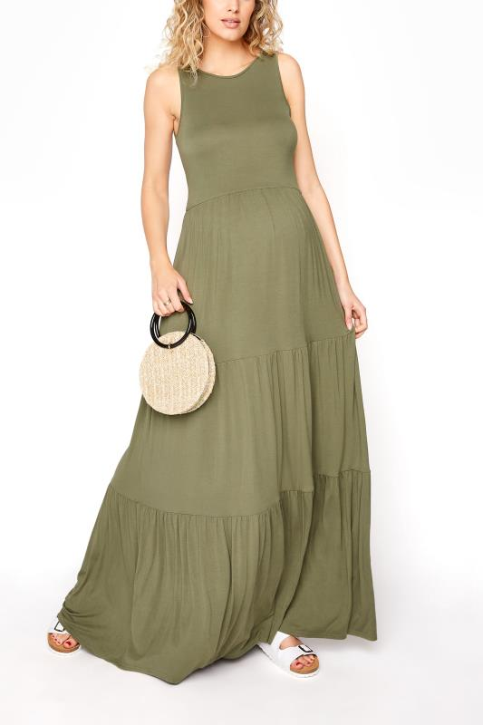 LTS Maternity Khaki Tiered Maxi Dress_B.jpg