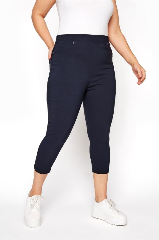 Navy Bengaline Cropped Pull On Trousers