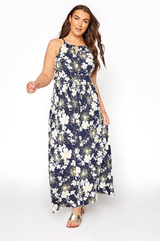 Grande Taille Blue Floral Keyhole Maxi Dress