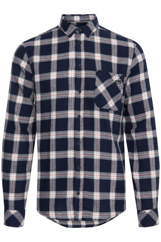 Casual / Every Day Tallas Grandes BLEND Navy Check Cotton Shirt