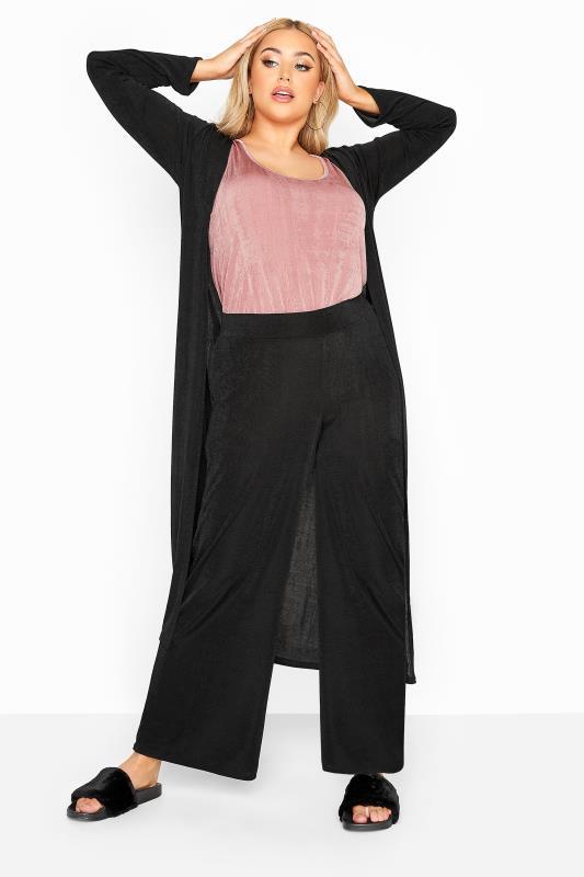 Plus Size  YOURS LONDON Black Slinky Co-ord Wide Leg Trousers