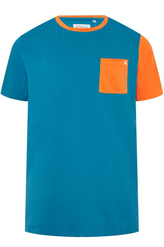 Plus Size T-Shirts STUDIO A Blue & Orange Colour Block T-Shirt
