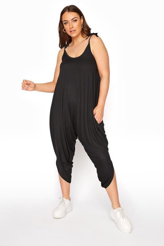 Plus Size  Black Harem Jersey Jumpsuit