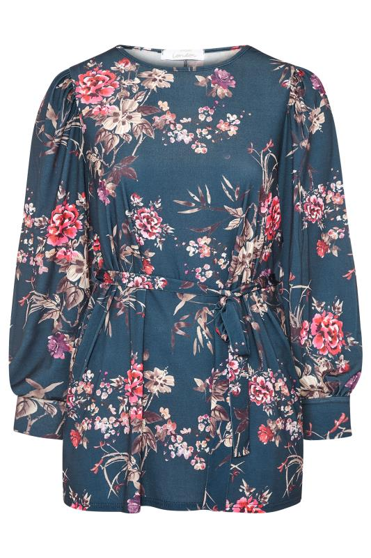 YOURS LONDON Blue Floral Belted Top