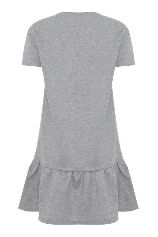 LTS Light Grey Marl Jersey Sweat Frill Hem Dress_BK.jpg