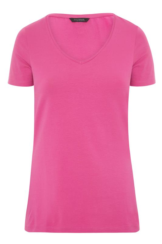 Pink Cotton Stretch V-Neck T-Shirt_F.jpg