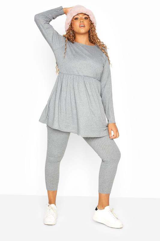 Grey Ribbed Peplum Co-ord Lounge Top