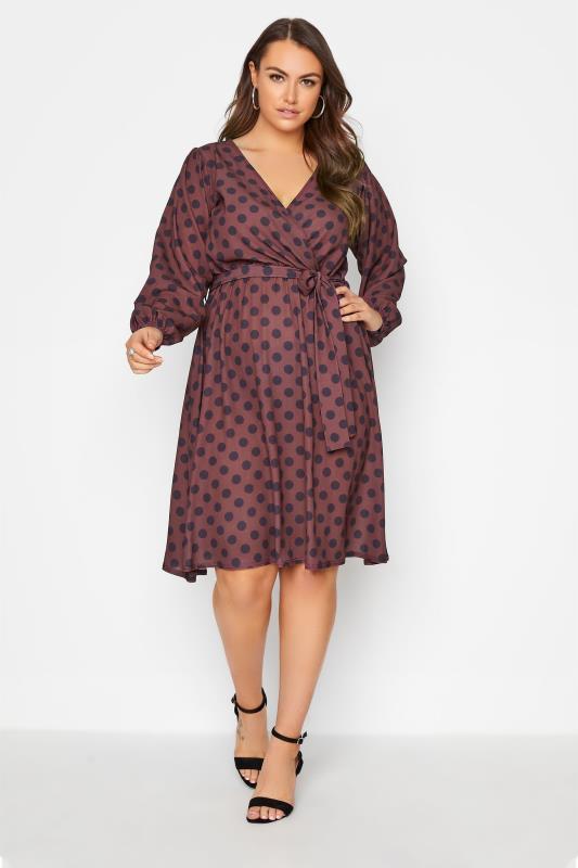 Großen Größen  YOURS LONDON Rust Red Polka Dot Wrap Midi Dress