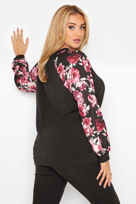 LIMITED COLLECTION Black Floral Raglan Sleeve Sweatshirt_C.jpg