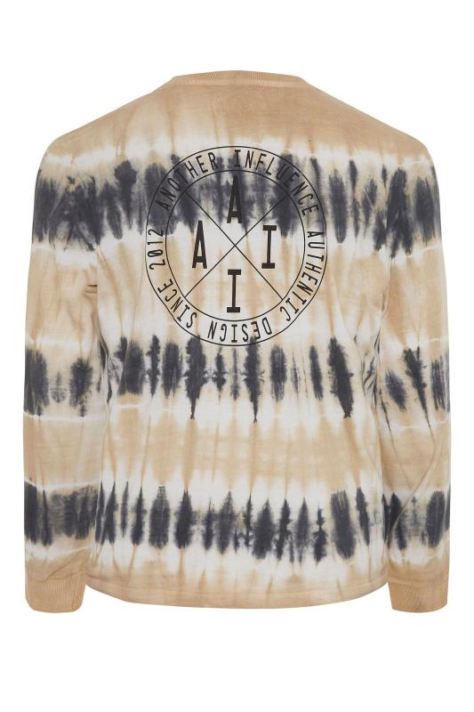 ANOTHER INFLUENCE Charcoal Long Sleeve Tie Dye T-Shirt_BK.jpg