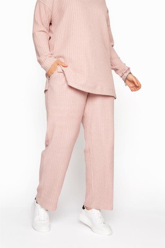 Plus Size  Pink Ribbed Soft Touch Trousers