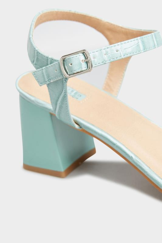 LIMITED COLLECTION Mint Green Block Heel Croc Sandals In Extra Wide Fit_D.jpg