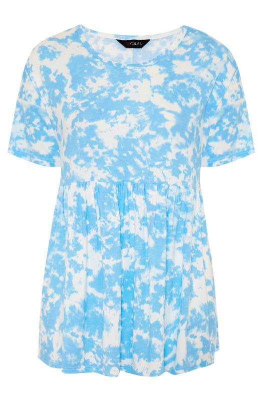 Plus Size  Blue Tie Dye Drop Shoulder Peplum Tunic