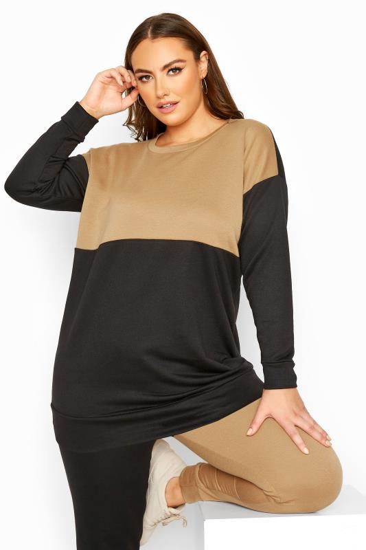 Plus Size  Camel & Black Colour Block Sweatshirt