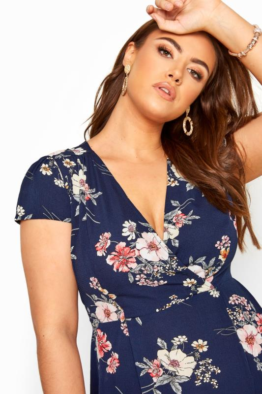 YOURS LONDON Navy & Pink Floral Wrap Dress