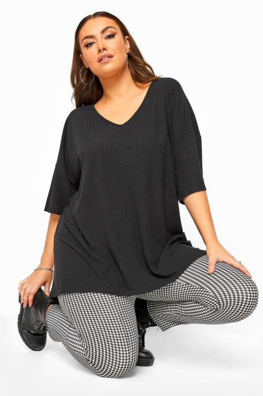 Plus Size Casual / Every Day Black Ribbed Dipped Hem Top