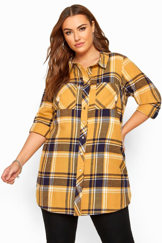 Plus Size Shirts Mustard Yellow & Navy Check Studded Boyfriend Shirt