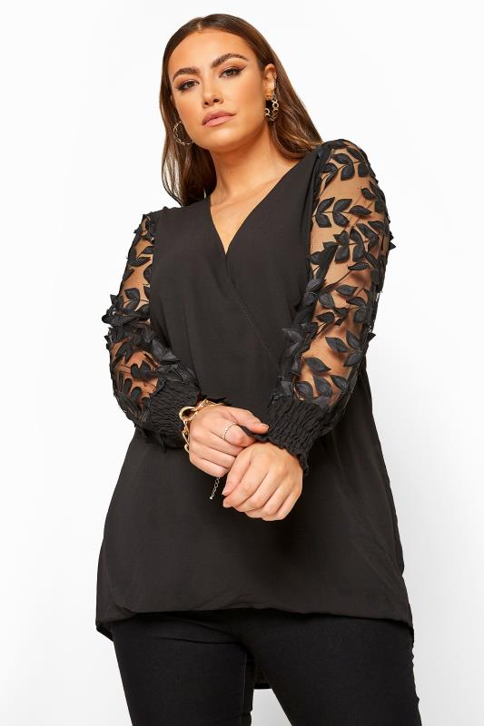 Plus Size Blouses YOURS LONDON Black Fishnet Leaf Sleeve Wrap Blouse