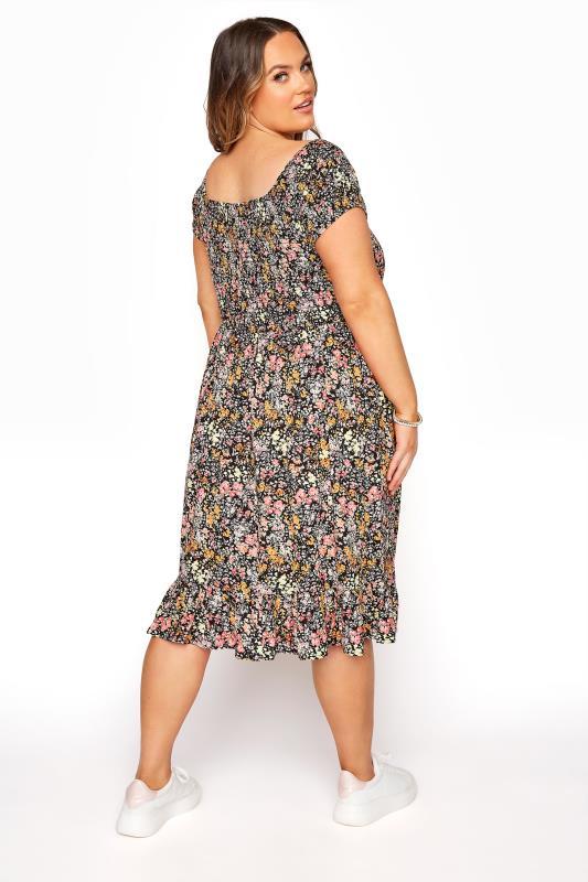 Black Ditsy Floral Shirred Bardot Dress_C.jpg
