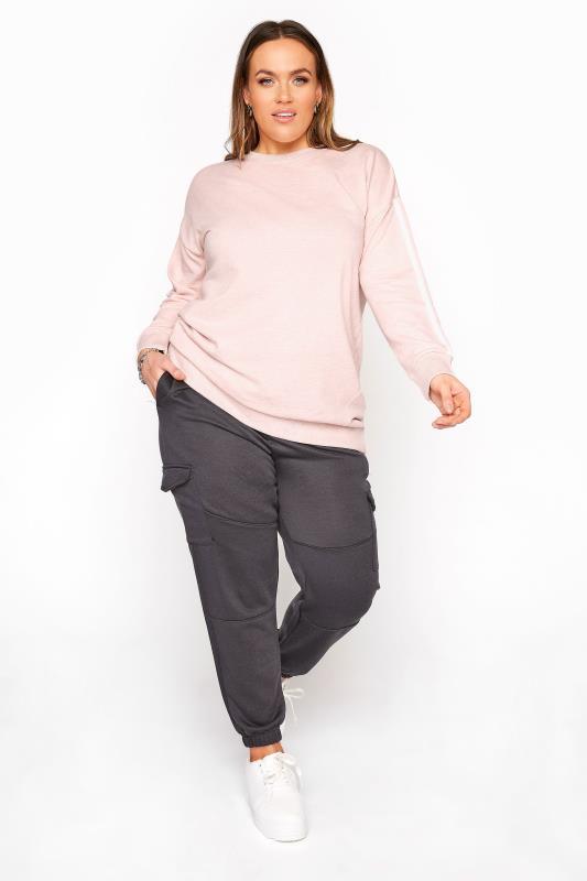 Pink Side Stripe Varsity Sweatshirt