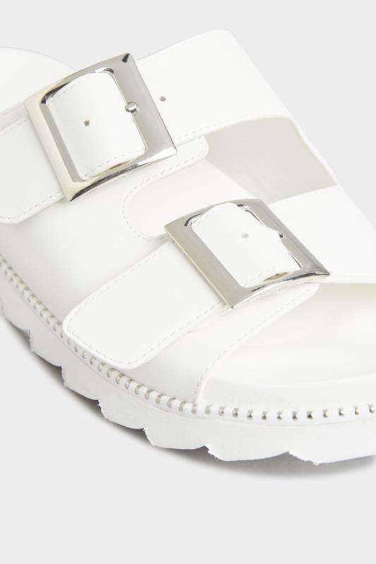 LIMITED COLLECTION White Stud Buckle Sandals In Extra Wide Fit_D.jpg
