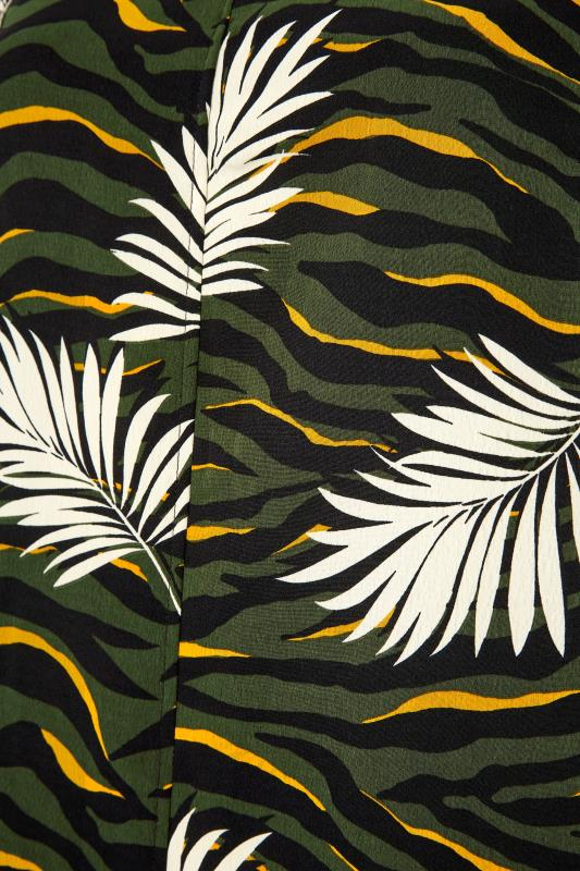 Khaki Tropical V-Neck Shift Dress_S.jpg