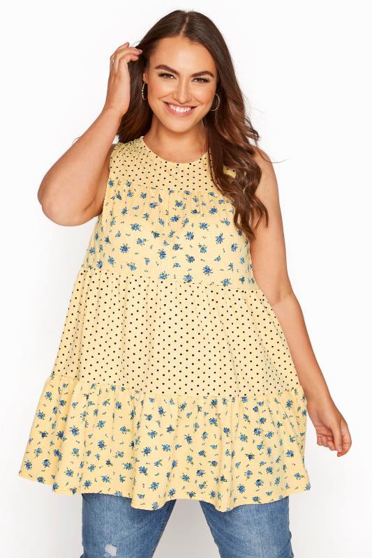 Plus Size  LIMITED COLLECTION Lemon Floral Spot Tiered Vest