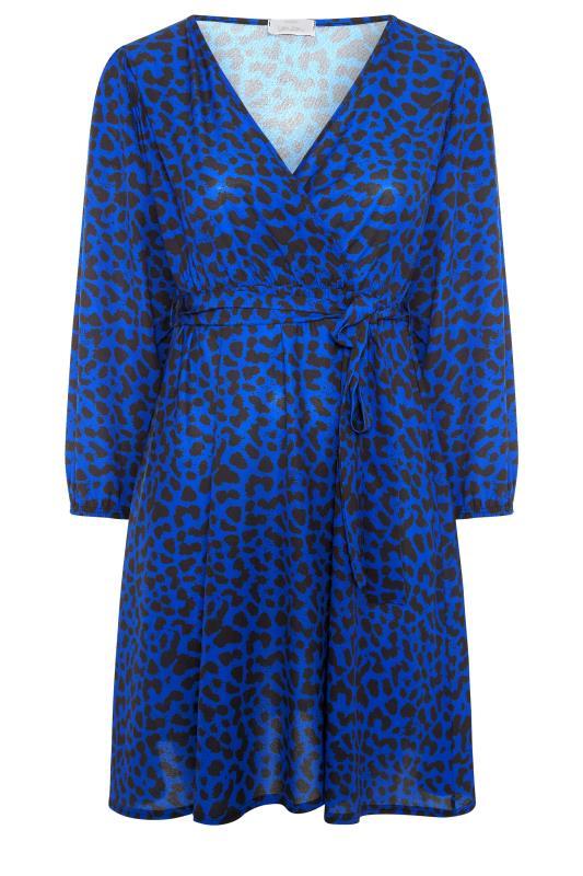 YOURS LONDON Cobalt Blue Animal Print Wrap Midi Dress_F.jpg