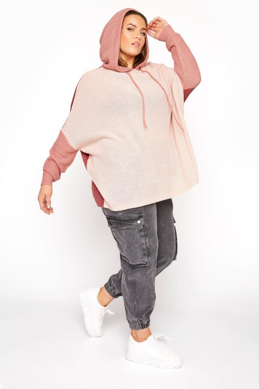 Pink Colour Block Oversized Knitted Hoodie