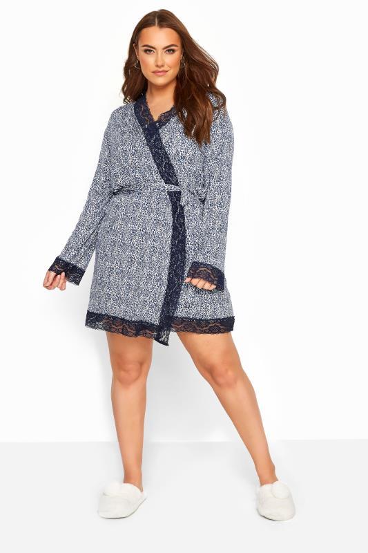 Plus-Größen Plus Size Loungewear Blue Leopard Print Lace Loungewear Robe