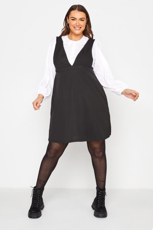 Plus Size  LIMITED COLLECTION Black Scuba Pinafore Dress