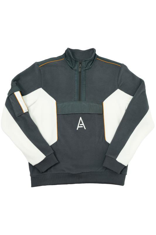 STUDIO A Grey Colour Block Quarter Zip Fleece