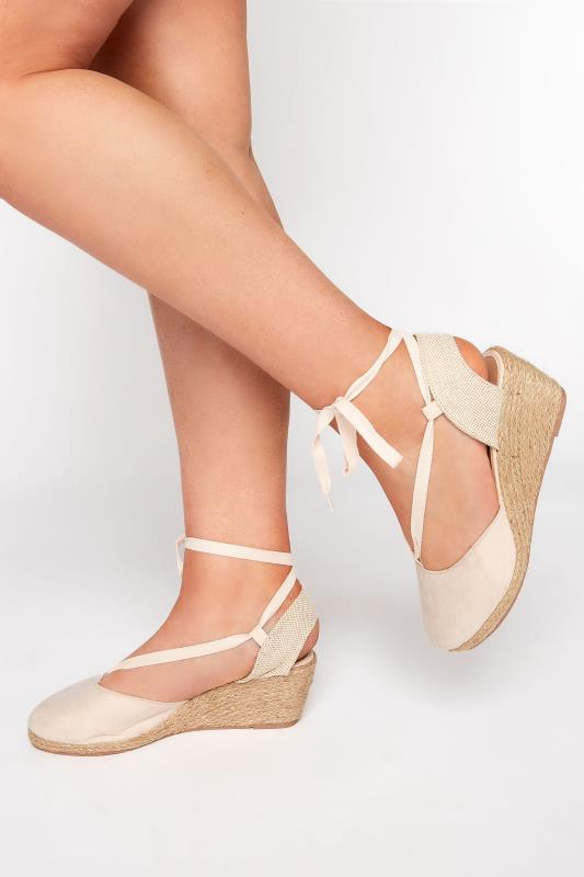 Plus Size  Nude Closed Toe Espadrille In Wide Fit