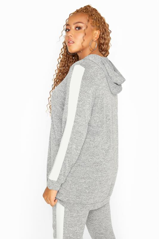 Grey Marl Stripe Tape Co-ord Hoodie