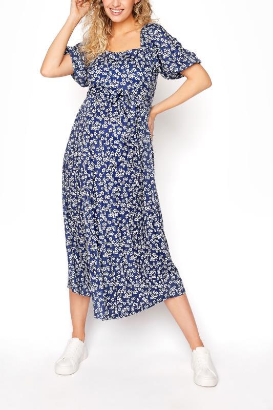 Tall  LTS Maternity Navy Blue Ditsy Square Neck Puff Sleeve Milkmaid Dress
