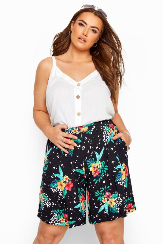 Plus Size Jersey Shorts Black Tropical Animal Print Jersey Shorts